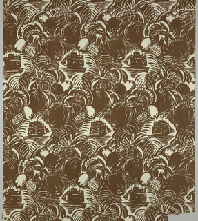 Length of printed cotton with an alternating horizontal repeat of a three-masted ship approaching across the water, framed by and large massed tropical fruits and leaves, in brown on white.