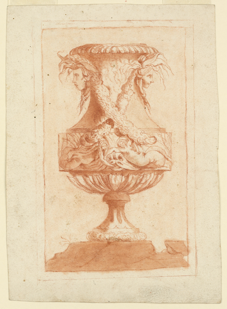 Elevation of a vase decorated with the heads of two river deities. Two garlands cross at the body. On frieze below, two mermaids with a dolphin. Vase stands on a cracked marble ground.