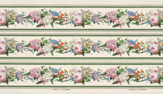 Scrolling floral vine with passion flower and morning glory on satin cream ground with gray and green bands at either edge. Printed three borders across the width.