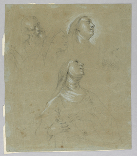 The bust of a bearded elderly man; the head of a woman with shawl in agony, possibly Mary; the head of a nun looking upwards; a left hand; the upper part of a nun's body, pulling aside her clothes to receive the wound.