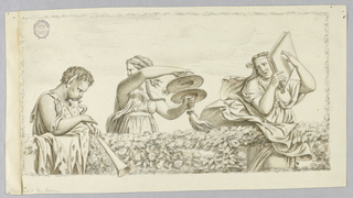 Drawing after a fresco devised by Giulio Romano in the Palazzo del Te in Mantua. A satyr boy playing flute, a girl with cymbols, a woman with a book, shown from below behind a hedge. Framed by a garland.