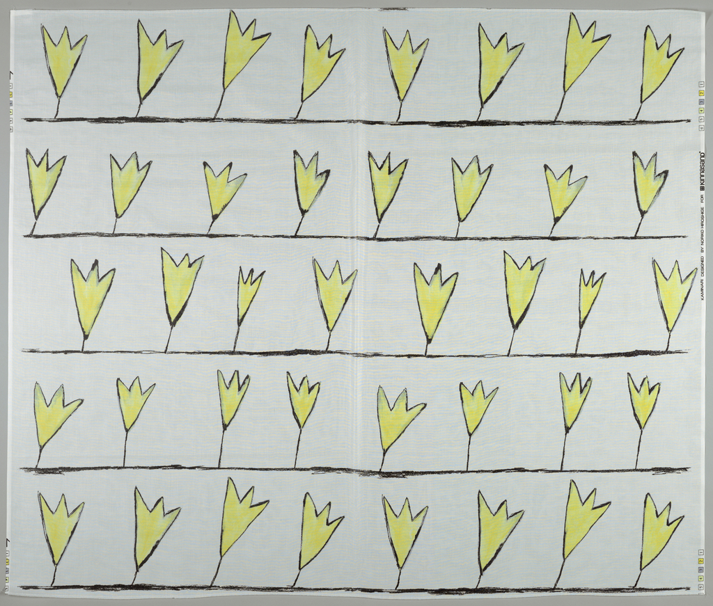 Horitzontal rows of a stylized tulip like flower in yellow and outlined in black, printed on white ground.