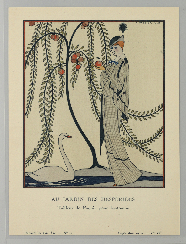 In a garden, a woman stands to the right of a tree blooming with golden apples and a pond with a white swan. Holding an apple in her hand, she is pictured from the side wearing a grey checked day dress and matching cape. Her black and grey hat, with a single black feather, sits tall upon her head. The illustration references the Garden of the Hesperides in Greek mythology, a garden guarded by a group of maidens, or Hesperides, that contained a tree bearing golden apples that granted immortality once consumed. The image is framed in a black border and is captioned beneath.