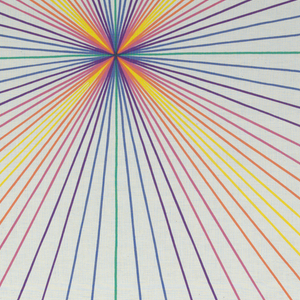 Radiating lines in bright crayon colors.