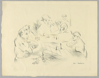 Two men playing chess, with other figures observing in background.