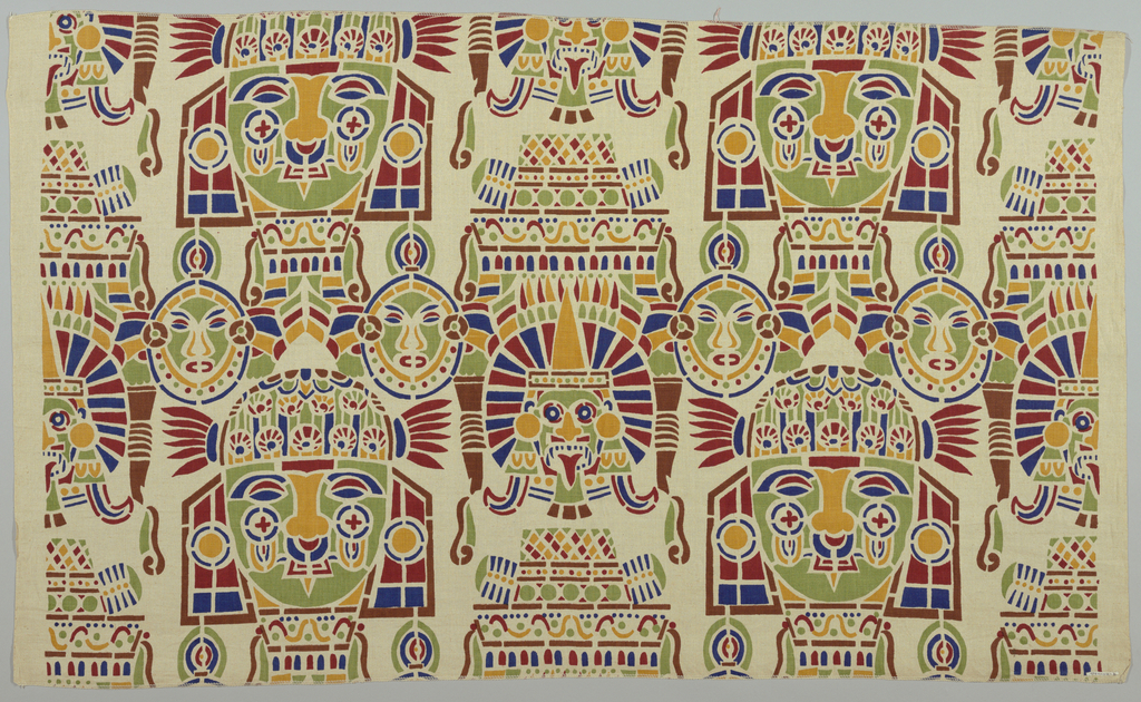 """Design called """"Maya"""" shows series of masks; printed in brown, red, yellow, blue and green on natural linen ground."""