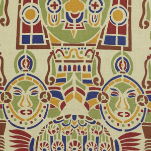 "Design called ""Maya"" shows series of masks; printed in brown, red, yellow, blue and green on natural linen ground."