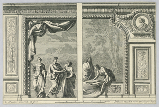 Three classical persons are shown against a mountainous landscape. The opening is rectangular. A figure supports a curtain. A right half: two persons stand behind the balustrade, one of them busy with a cloth. Wooded landscape in the rear.
