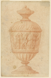 Urn with frieze representing an angel holding the hand of Loth and guiding him. Followed by two women carrying bottle on their heads.