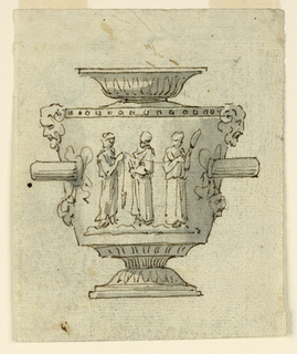 Elevation of an urn decorated with three women, side handles and masks.