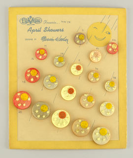 "Upright rectangular biege card with yellow boarder around edges; 18 circular yellow, green and orange buttons of various sizes sewn on face, each button a smiling sun with rain drops.  printed in upper left corner of card: La Mode [logo], presents ""April Showers""/ ""designed by Marion Weeber Welsh"""