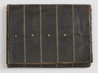 Rectangular, brown with gold tooled stripes centered by stars; two flaps opening to reveal silk lined sections.