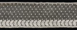 Straight border of Mechlin lace with a design of small dots sprinkled over the field, and a border of detached motifs showing two leaves, above a row of semi-circles.