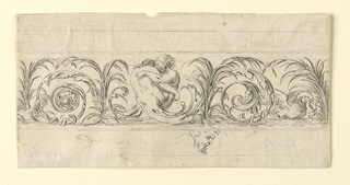 Horizontal rectangle showing a frieze composed of scrolling arabesques. At center, two lovers with bodies terminating in acanthus leaves embrace. At left, a snake; at right, a swan. Below, a man's face in profile.