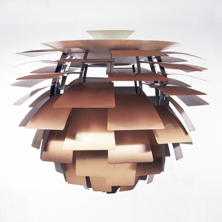 Ceiling-hung light, the segmented artichoke-like form with copper leaves supported on metal framework.