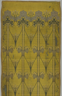 Vertical symmetrical pictorial panel composed of long rose trees with long repeating floral stems. The curve of the branches creates vase-like shapes in the Glasgow Arts style. Muted colors on a yellow ground of silk.