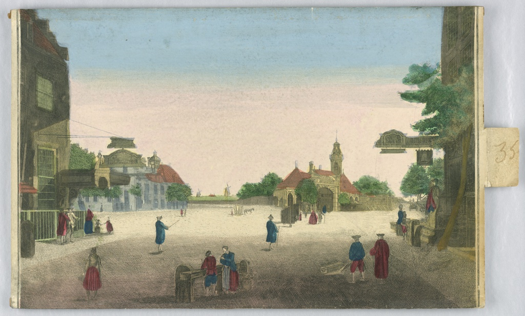 For peep show. Horizontal rectangle. In the foreground is a street flanked by two inns, parts of which are shown. In the middle distance is a cross-road with a farm lying at the corner. At left are a group of houses. Walkers and carriages are shown.