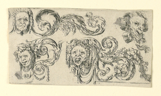 Horizontal rectangle showing four masks with acanthus leaf arabesques.