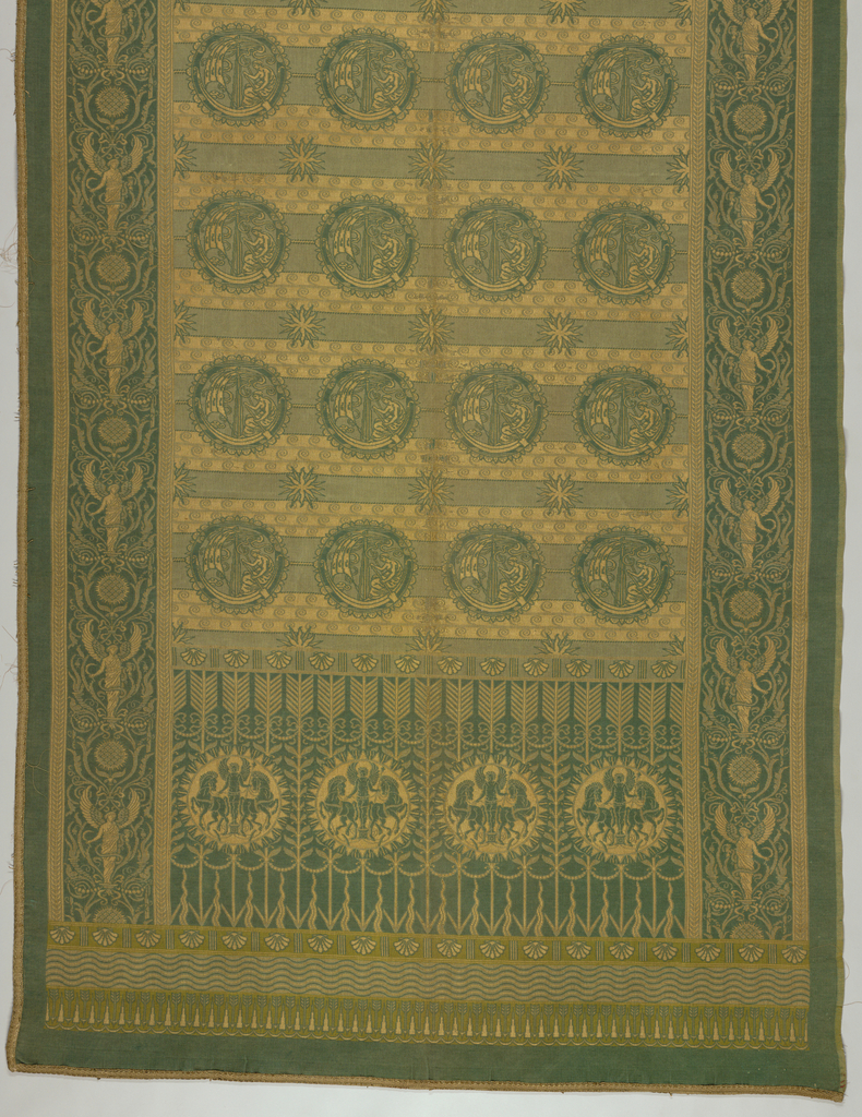 Hanging or portière  in two shades of green and ochre. A deep  border at the bottom is made up of stalks of wheat, with roundels containing a winged male figure flanked by two horses. The side borders contain draped female figues with wings, separated by abstracted pomegranate motifs. The center field has horizontal bands of spirals resembling waves, sunburst patterns, and rows of roundels containing a draped female figure with an oar in a boat with sails. Weave is designed to imitate tapestry.