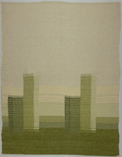 Hanging panel that is loosely woven at the top with rayon and cotton warp, and a weft of beige mohair looped around a rayon core giving a curly, looped appearance. About halfway down, two broad green stripes made by laid-in extra warp of nubby rayon intersect weft bands of nubby undyed sheep's wool, then bands of light and darker green. Broad band at bottom is thick, dark green chenille.