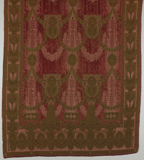 Pair of portieres with a field decorated by swags descending from rows of architectural pediments. Side and bottom borders have architectural details. Colors are rose red and light brown. Woven so the fabric is reversible.