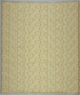 """Allover pattern of diamonds arranged in a variety of combinations within a square. A) color: beige and ivory; B) color: purple, brown and ivory - """"Touren""""."""