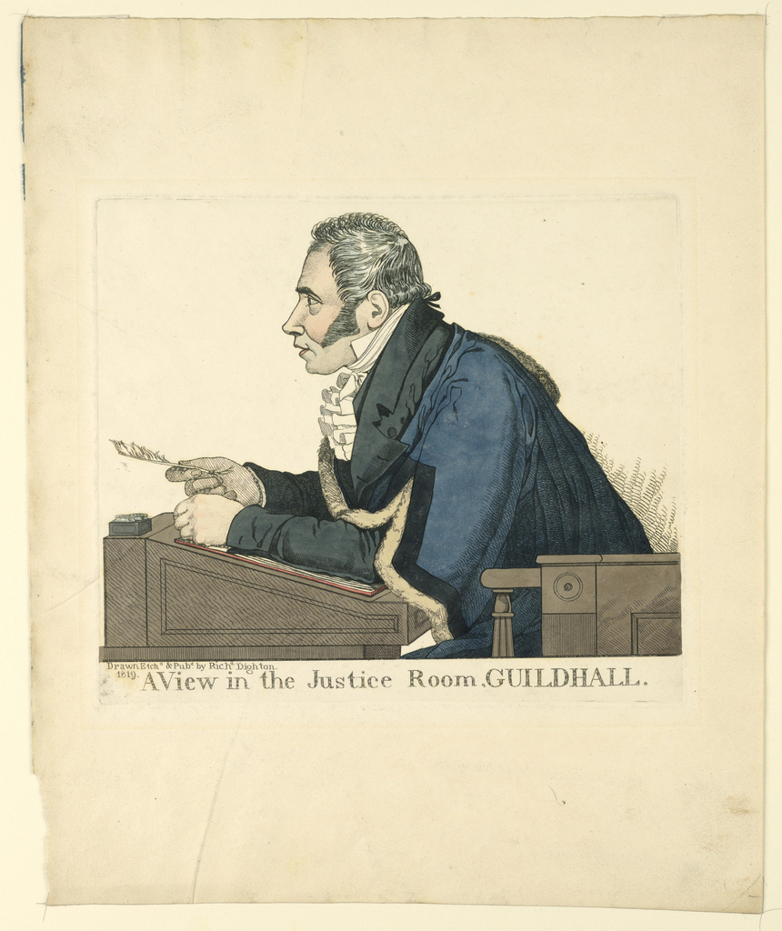 Print, A View in the Justice Room, Guildhall, 1819