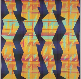 On a black ground, four jagged vertical columns containing colorful almost plaid pattern in red, pink, yellow, and light blue.
