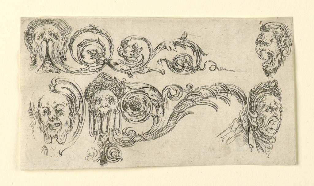 Horizontal rectangle showing scrolling acanthus arabesques and grotesque faces. At right, a man wearing a laurel wreath.