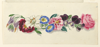 A horizontal arrangement of colorful flowers: morning glories, moss roses, lilies, among others.