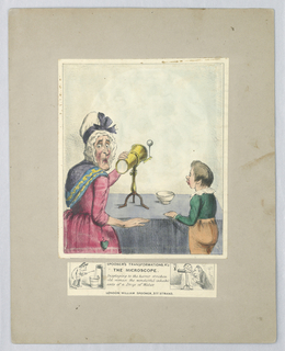 "Title between two vignettes: ""Displaying to the horror stricken old woman the wonderful inhabitants of a Drop of Water""."