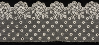 Band with a  scalloped border of floral blossoms, powdered over ground and edge by floral sprays.