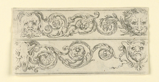 Horizontal rectangle showing two friezes composed of scrolling acanthus arabesques and masks. At upper right, a lion's head' lower left, a bucranium.