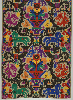 Fabric woven by Alexander Morton & Co., inspired by Sardinian peasant embroideries. Large-scale design with central urn of flowers alternating with addorsed horses and peacocks in a circular framing device. In brilliant polychrome chenille yarns on a beige cotton ground.