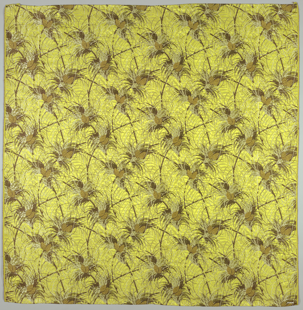 Figured satin with a yellow ground and an allover design of intertwining branches, foliage and fruit in brown, white and orange.