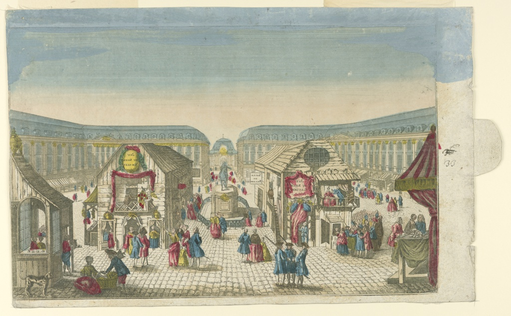 "For a peep show. Horizontal rectangle. The statue of Louis XIV is flanked by rows of two wooden huts each. That in front at left houses at the front the ""JEU/DU SIEUR/NICOLLE,"" and laterally a shop of a woodcarver. The hut at the back of the row at right contains a ""SALLE DE BILLIARD,"" that at the front the ""JEU/DU SIEUR/GAUDON."" The writing is in inverse direction. The palce is crowded by other huts and by people."
