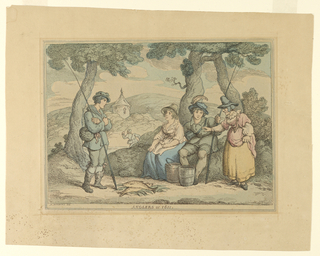 Two young men and two women seated in a landscape, dressed in period costume with fishing rods and two fish, on the ground at center.