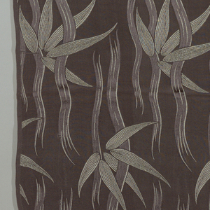 Dark grey crepe plain weave ground with a design of bamboo stalks and leaves in dark grey satin weave combined with supplementary light grey weft.