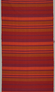 Panel of heavy handwoven silk horizontally striped in red, purple, orange, and orange-brown.