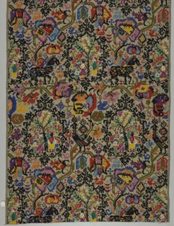 Length of fabric with a design inspired by rustic Sardinian embroideries. Beige ground has a design of figures under flowering tree, figures on horseback, animals, birds, and peacocks in a bright multicolored design.
