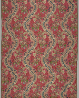 Elaborate curving ribbon supporting flowering branches in bright colors on a red-on-red background shadow pattern of leaves and flowers in the style of the mid 18th century.