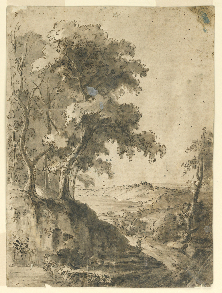 Hilly countryside with trees on a slope. At right, a road with two small figures.