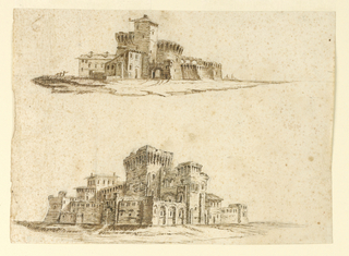Two views of a rusticated fortress, possibly scene on the road between Florence and Siena. Black