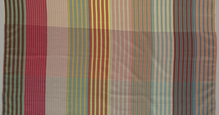 Ten different color combinations of warp stripes with (A.) three changes of weft color and (B.) only one weft color.