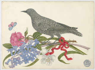 Black Bird with Blossoms, Butterfly, and Red Ribbon