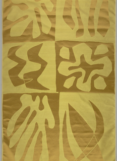 Full length sample of the curtain fabric used in the Metroplitan Opera House, Lincoln Center. Dark gold color with abstract designs in eight different block pattern shapes, oblong or square.