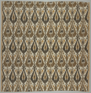 Vertically symmeterical pattern derived from an Afghanistan warp ikat.  narrow warm stripes simulate the jagged edge of an ikat pattern.