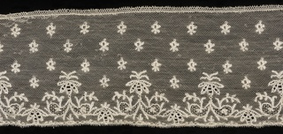 Straight border of Mechlin lace with a design of buds sprinkled over the field, and a border of conventionalized ornament.