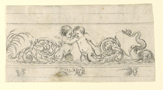 Horizontal rectangle showing a frieze with two putto whose legs terminate in scrolling acanthus arabesques. Below, three masks.