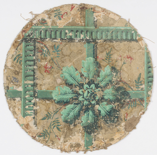 Round lid, large rosette and ribbon, printed in green, with floral and foliate sprigs, on off-white ground.